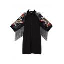 Women's Fashion Lapel Collar Half Sleeve Embroidered Floral Print Button-Front Tessel Hem Midi Black Shirt Dress