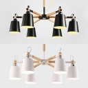 White/Black Bucket Pendant Light 6 Lights European Style Metal Chandelier for Restaurant