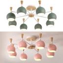 8 Lights Globe Chandelier Modern Metal Ceiling Light in Macaron Green/Pink for Hotel