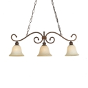 White Bell Shade Island Pendant 3 Lights Antique Style Frosted Glass Hanging Light for Restaurant