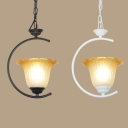 Balcony Kitchen Flower Pendant Light Glass 1 Light Rustic Style Black/White Hanging Light