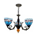 Stained Glass Bowl Chandelier 3 Lights Mediterranean Style Hanging Light in Blue for Foyer