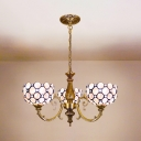 Shell Bowl Shade Chandelier 3 Lights Antique Style Hanging Light in White for Foyer Hallway
