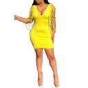 Hot Fashion Yellow Plunge Neck Cut Out Bandage Sleeve Open Back Plain Mini Bodycon Pencil Dress