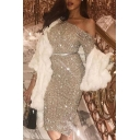Women's Sexy Light Gold Sequined Embellished One Shoulder Long Sleeve Midi Party Dress