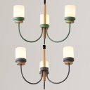 Simple Style Green/Gray Pendant Lamp Cylinder 3 Lights Wood Metal Chandelier for Foyer