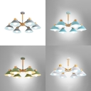 Cone Living Room Ceiling Light Metal 6 Lights Nordic Style Chandelier in Macaron White/Green/Blue/Gray