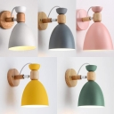 1 Light Dome Wall Light Simple Style Metal Rotatable Sconce Light with Macaron Color for Bedroom