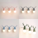 Candy Colored Antlers Sconce Lamp 3 Lights Lovely Metal Wall Light for Boy Girl Bedroom