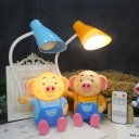 Switch Control Pig LED Desk Light Stepless Dimming LED Night Light in Blue/Orange for Bedroom