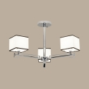 Study Room Square Shade Semi Ceiling Mount Light Metal 3/6/8 Lights Simple Style Chrome Ceiling Lamp