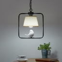 American Rustic Tapered Shade Suspension Light with Bird Decoration Fabric 1 Light Black/White Hanging Light