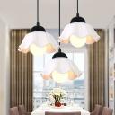 Ceramics Petal Shade Suspension Light 1/3 Lights Contemporary Pendant Lamp in White for Dining Room