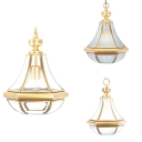 Single Light Hanging Lighting Colonial Style Metal Glass Pendant Light in Brass for Dining Room