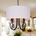 Fabric Drum Shaded Pendant Light with Clear Crystal Bedroom 4 Lights American Rustic Chandelier in White