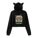 Cute Ear Hood Letter YOUR GIFT Grumpy Cat Printed Cropped Casual Hoodie