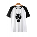 Trendy Wolf Head Printed Raglan Short Sleeve Round Neck Loose Fit T-Shirt