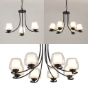 Glass Cup Shade Suspension Light 3/6/8 Lights American Rustic Hanging Light in Black for Study Room