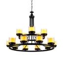 Villa Cylinder Candle Chandelier Metal 2-Tier 15 Lights American Rustic Black Hanging Light