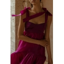 Hot Fashion Bow Spaghetti Straps Sleeveless Plain Maxi Boho Purple Shift Dress