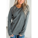 Womens Plain Long Sleeves Round Neck Zip Detail Pullover Sweatshirt