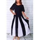 Women's Hot Fashion Round Neck Short Sleeve Colorblock Printed Maxi Swing Dress