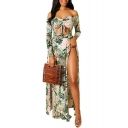 Women's Hot Fashion Off The Shoulder Tribal Printed Split Side Cutout Detail Maxi Swing Dress