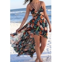 Summer Sexy Hot Fashion Spaghetti Straps Sleeveless Floral Printed Maxi Boho Beach Black Dress