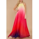 Women's Hot Fashion Halter Neck Sleeveless Colorblock Print Backless Maxi Swing Red Dress
