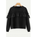 Black Plain Round Neck Long Sleeve Ruffle Patchwork Sweatshirt