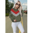 Women's Colorblock Stripe Print Round Neck Long Sleeve Sweatshirt