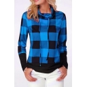 Classic Colorblock Plaid Pattern Drawstring Cowl Neck Long Sleeve Sweatshirt