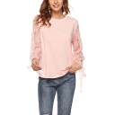 Womens Fashion Solid Color Round Neck Lace Patched Long Sleeve Pink Sweatshirt