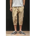 Men's Summer Stylish Colorblock Drawstring Waist Elastic Cuff Casual Cropped Cargo Pants