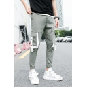 Guys Summer Cool Unique Colorblock Ribbon Drawstring Waist Slim Fit Cargo Pants