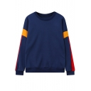 Womens New Trendy Colorblock Patchwork Long Sleeve Round Neck Dark Blue Sweatshirt