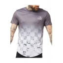 Fashion Ombre Color Geometric Printed Round Neck Short Sleeve Purple T-Shirt