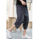Guys Summer Trendy Vertical Striped Printed Cotton and Linen Loose Cropped Bloomers Pants