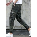 Guys New Trendy Camo Printed Cotton Slim Fitted Summer Cargo Pants