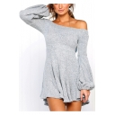 Womens New Stylish Solid Color Off the Shoulder Lantern Long Sleeve Mini A-Line Dress