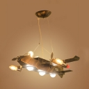 Vintage Style Airplane Chandelier Metal Suspension Light in Aged Brass for Boy Bedroom