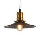 1/2/3 Pack Metal Saucer Pendant Light 1 Light Vintage Style Pendant Lamp in Black for Factory