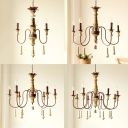 Dining Room Candle Shape Chandelier Metal 3/5/6/8 Lights Rustic Style Rustic Pendant Lamp