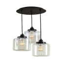 Vintage Style Drum Pendant Light 3 Lights Clear Glass Hanging Light in Black for Dining Room