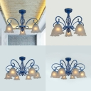 Rustic Floral Chandelier 3/5/6/8 Lights Frosted Glass Ceiling Pendant Light in Blue for Hallway