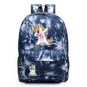 New Lightning Cartoon Unicorn Print Oxford Cloth Backpack 45*31*13 CM