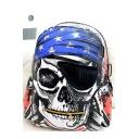 New Fashion Skull Pirate Print Blue Nylon Leisure School Bag Sport Backpack 43*32*19 CM