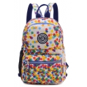 Popular Stars Printed Lightweight Waterproof Nylon White School Backpack 21*10*30 CM