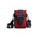 Stylish Color Block Metal Buckle Letter Wide Strap Crossbody Phone Purse 11*6*19 CM