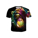 Funny Colorful Gorilla Printed Round Neck Short Sleeve Black Tee